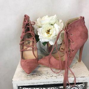 Shoes - Mauve pink suede lace up heels
